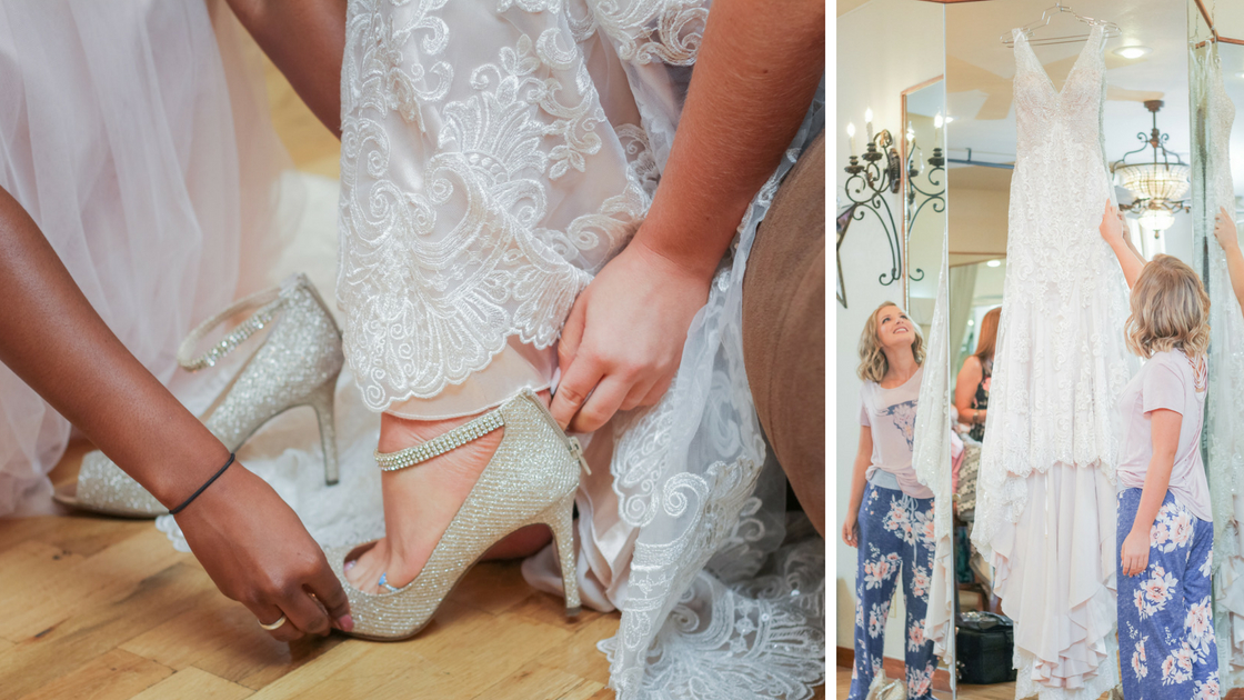 bride checks out dress while wearing her Pajamas and puts on sparkly shoes before the ceremony!