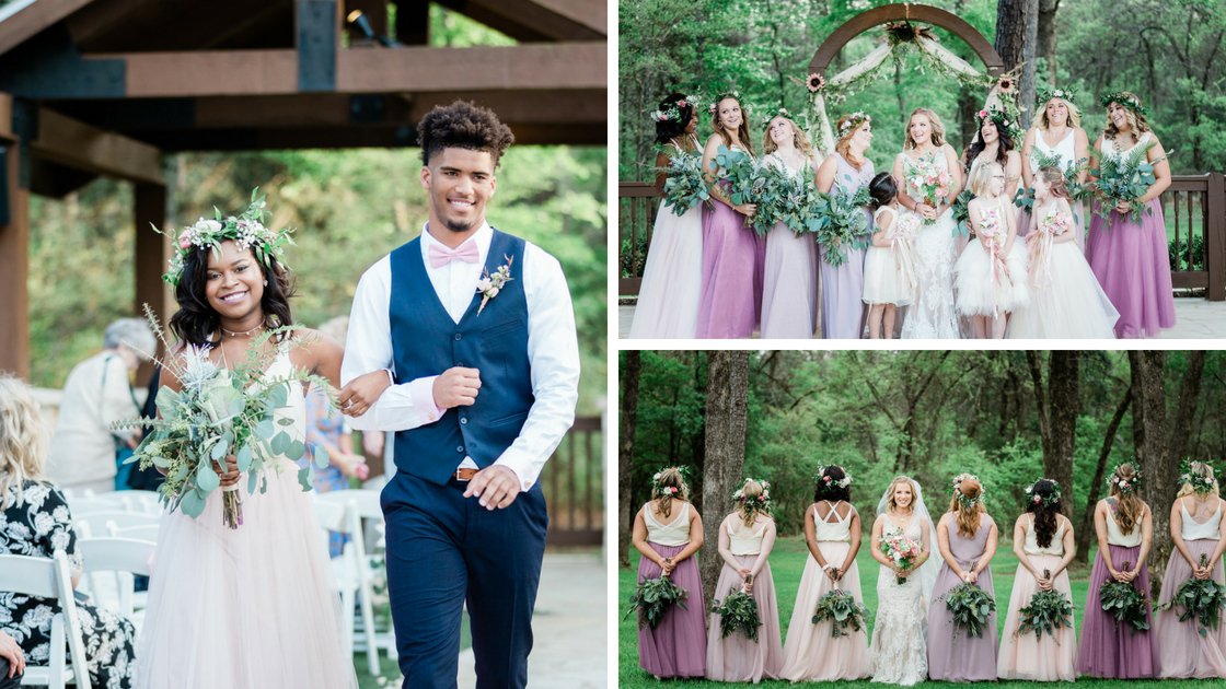 groomsman and bridesmaids walk down the aisle with peek-a-boo pink tulle perfectly complimenting groomsman pink bow tie.