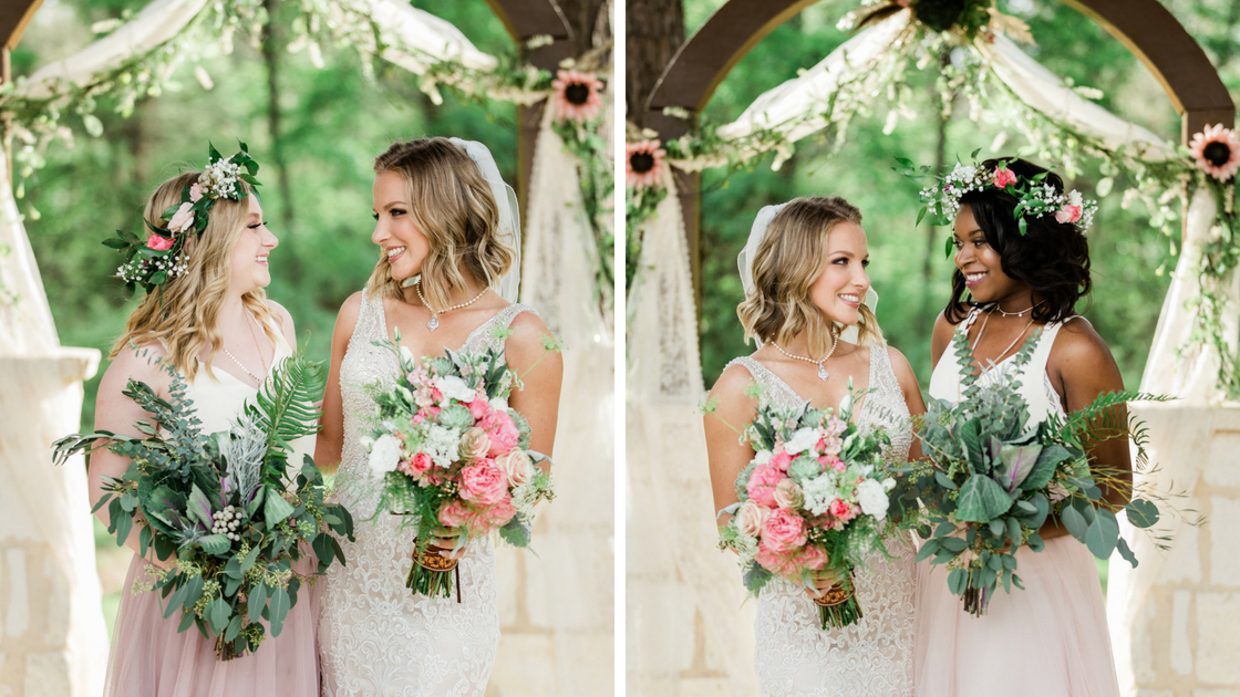 bride poses with two different bridesmaids wearing peek-a-boo pink tulle and Ivory chiffon