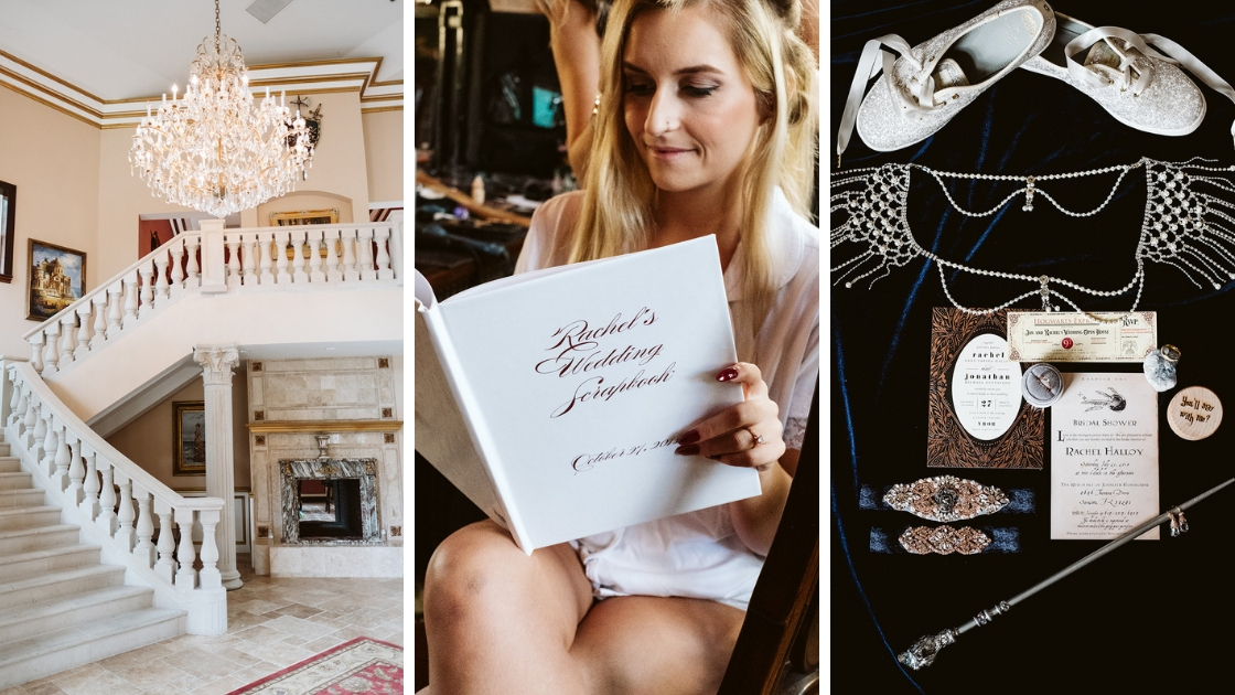 Getting ready mansion of rachel varina wedding detail shots and bride reading book morning of