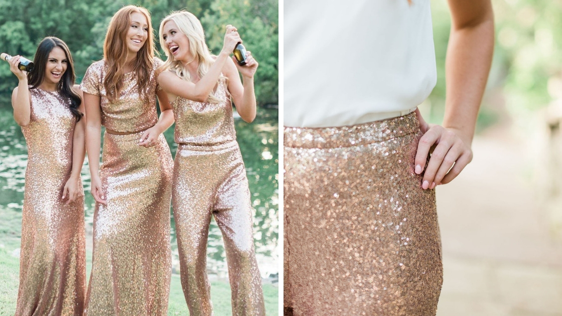 girls in sequin outfits smile and laugh as they spray champagne on NYE in gold dresses and revelry separates