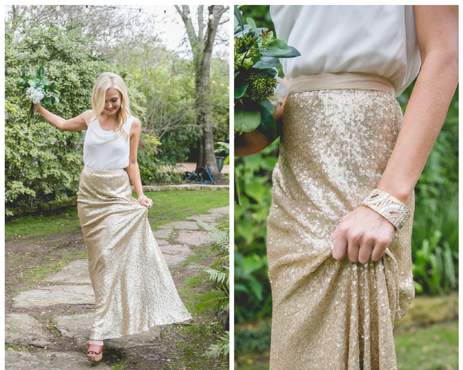 chiffon top paired with maxi gold sequin skirt.