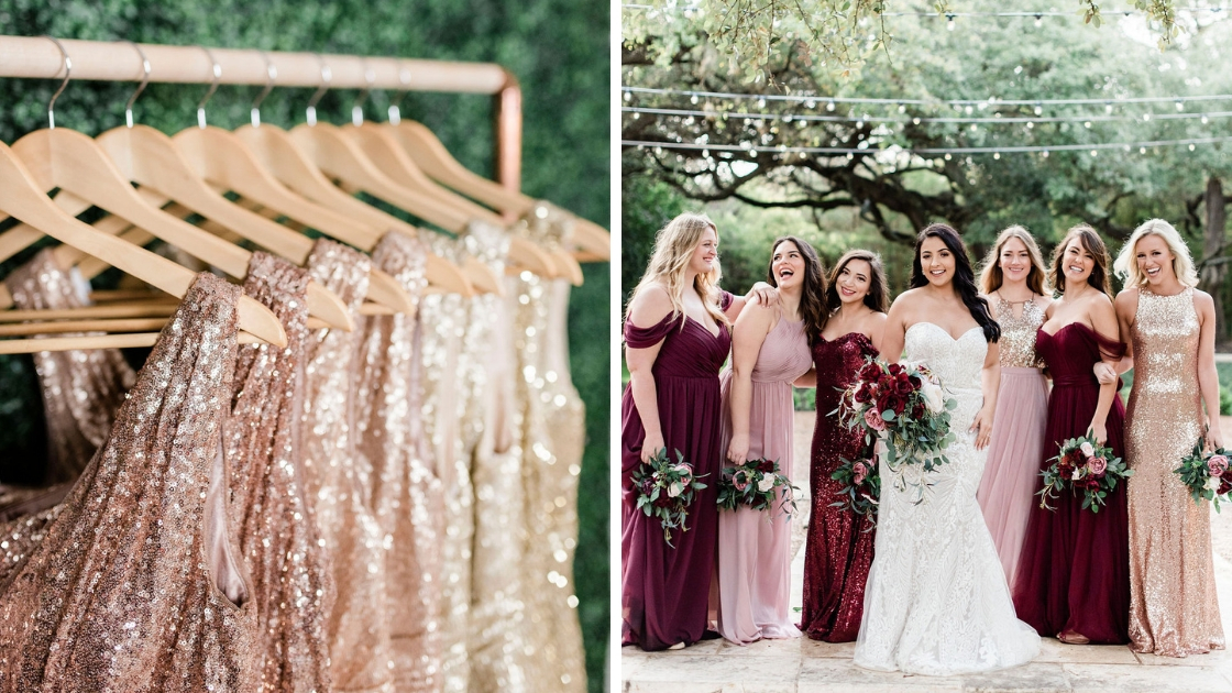 Gold sequin gowns rose gold rack shot 6 bridesmaids and bride blush gold burgundy dresses tulle chiffon sequin revelry pose at mercury hall