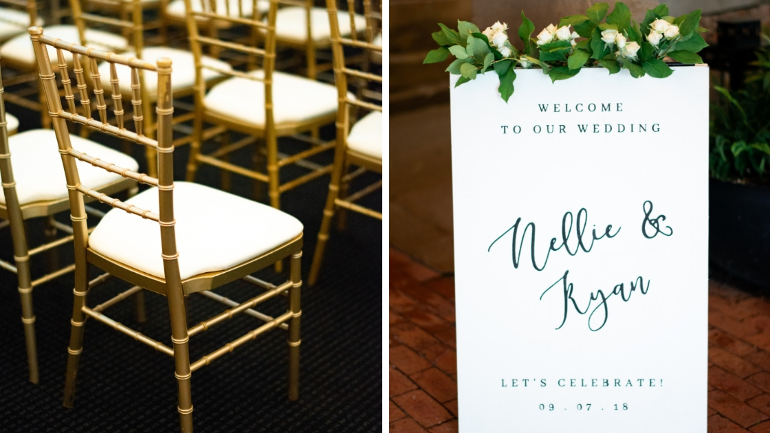 Gold wedding chairs white chairs weddig ceremony wedding sign greenery nellie and ryan september wedding
