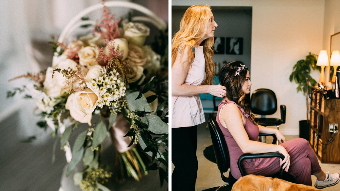 Greenery floral bouquet bride getting hair done on wedding day in burgundy romper converse