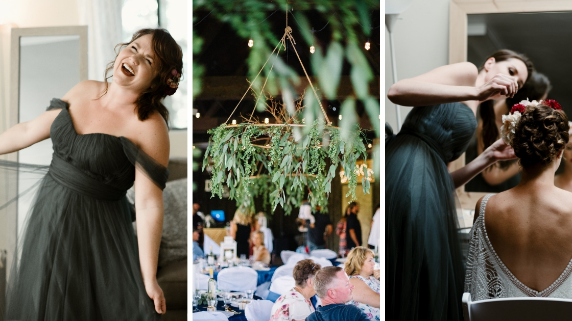 Greenery tulle rosalie bridesmaid bridal dress off the shoulder eucalyptus greenery aspects