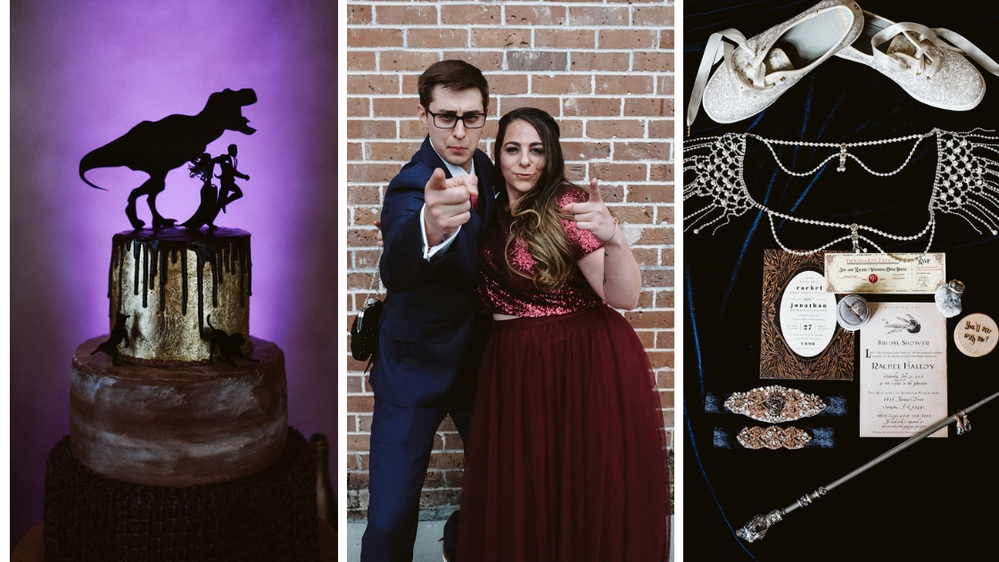Groom and sister pointing at camera and smiling wedding cake with bride and groom running harry potter details revelry