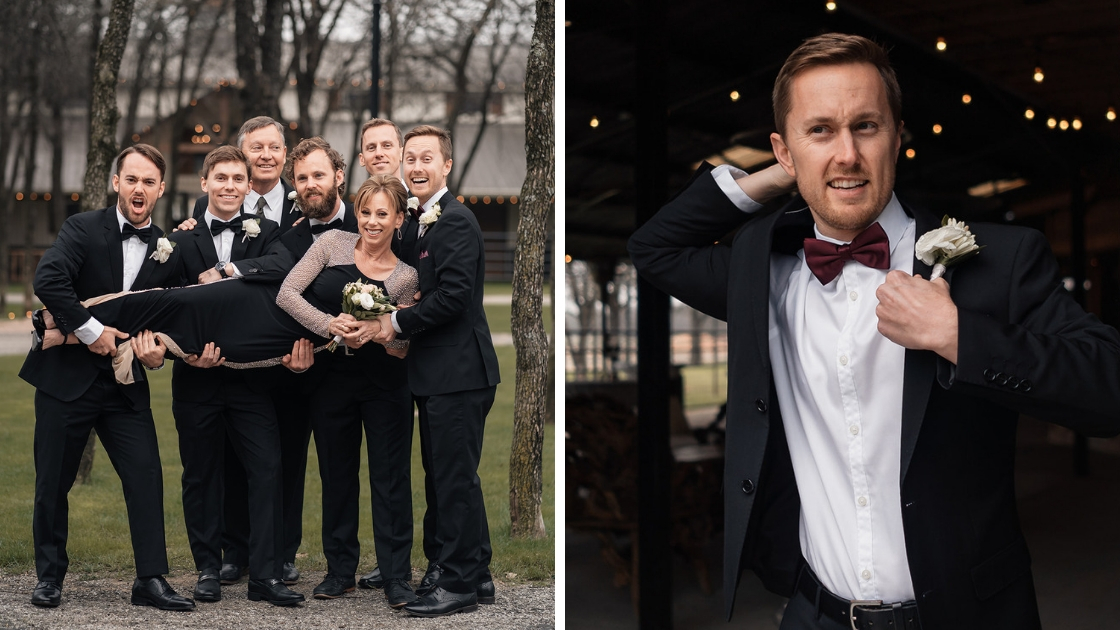 groom in black tux puts on jacket and gets ready for wedding holds up mother with groomsmen and family celebrating wedding day outside