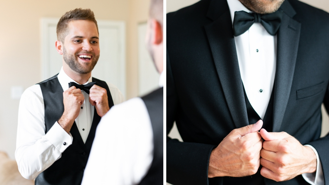 Groom on wedding day tux bowtie black jacket detail jacket closing formal gown on wedding day laughing smiling