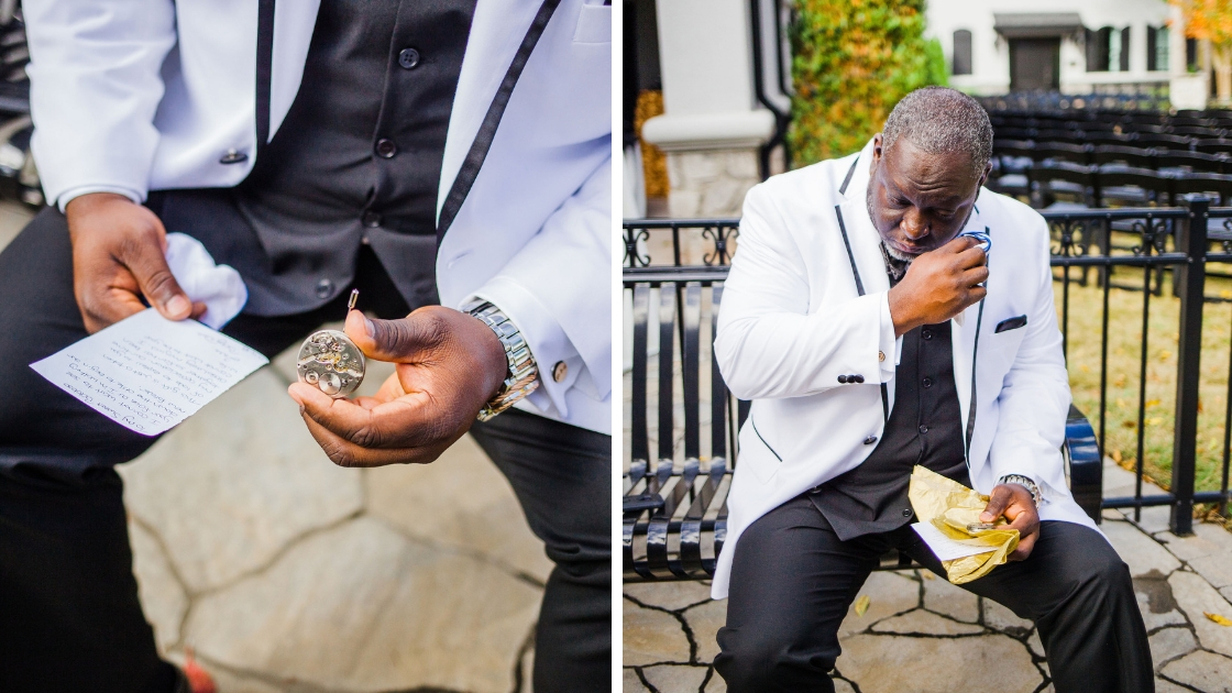 Groom pocket watch wedding day note from bride tears crying