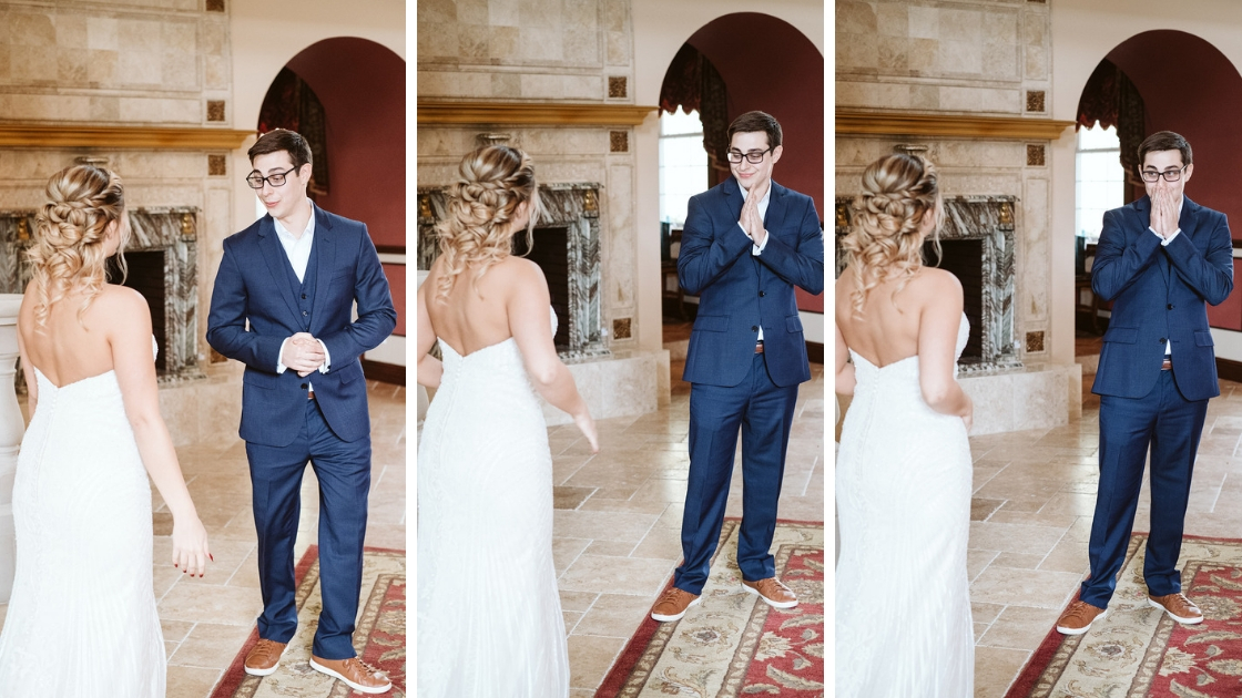 Grooms reaction to Rachel Varina Revelry first look white dress mansion