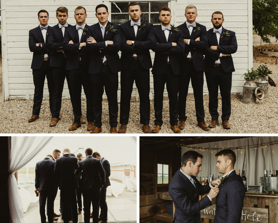 groom and groomsmen get ready for wedding and pose for photos in bar