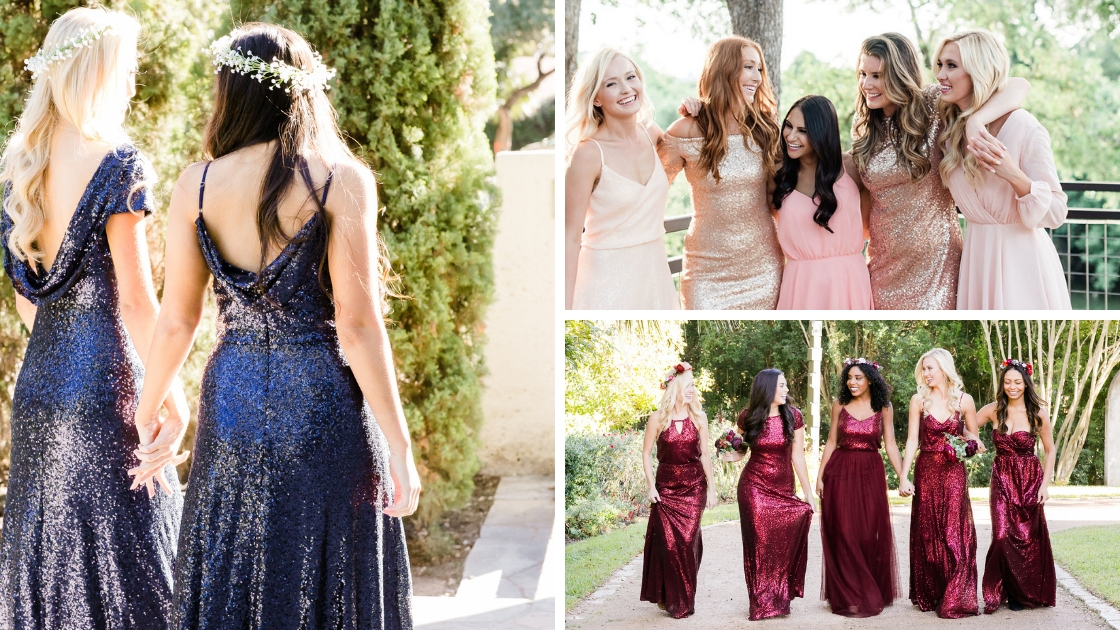 Holiday styles blue blush and neautrals reds and burgundies sequin separates and dresses