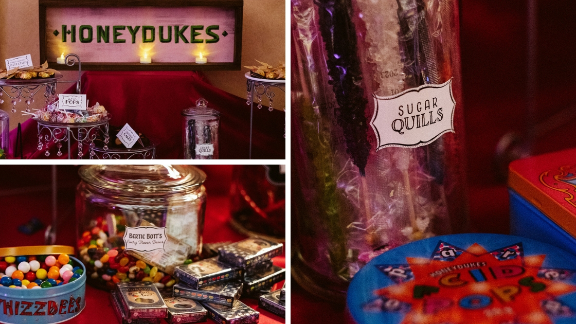 Honeydukes sweets table at wedding candy sweets harry potter hogwarts wedding
