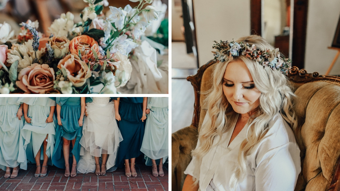 Beautiful blonde bride in floral crown chiffon blue and green dresses showing shoes