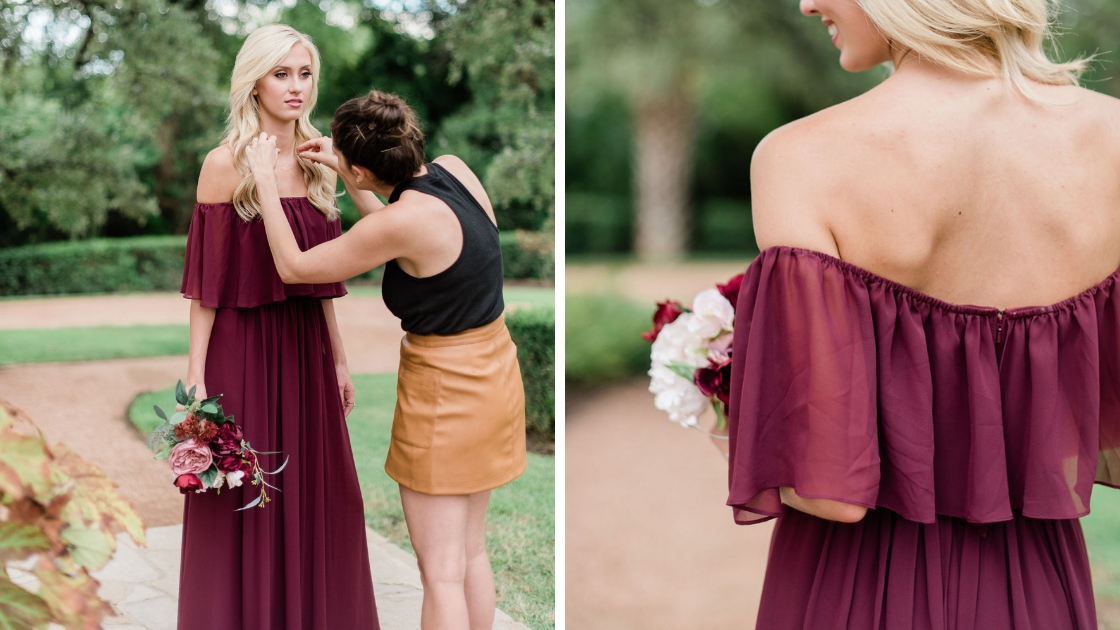 Revelry burgundy chiffon off the shoulder dress gets styled by Revelry' founder Michelle