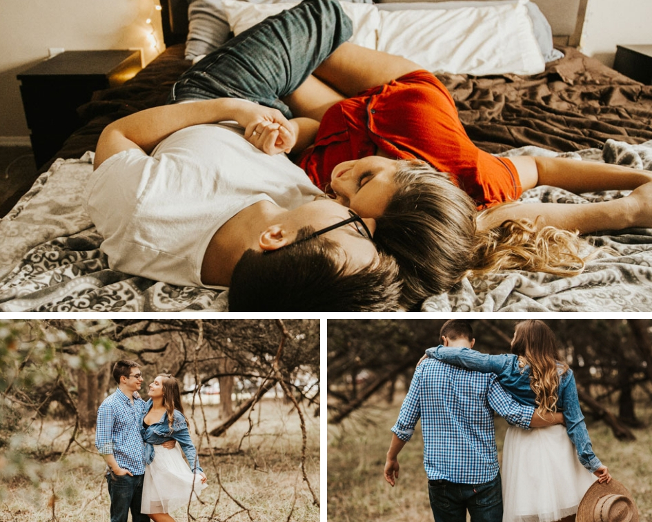 Rachel and Jon cuddling and being in love on bed wearing white tulle skirt and posing in woods