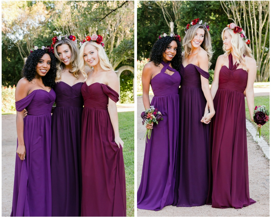 bridesmaids in chiffon dresses with off the shoulder styles and halter styles.