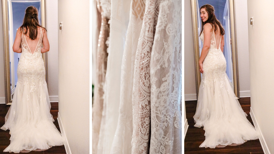 Lauralee Marketing Manager of Revelry in Mona wedding dress tulle and flowers lace detail shots