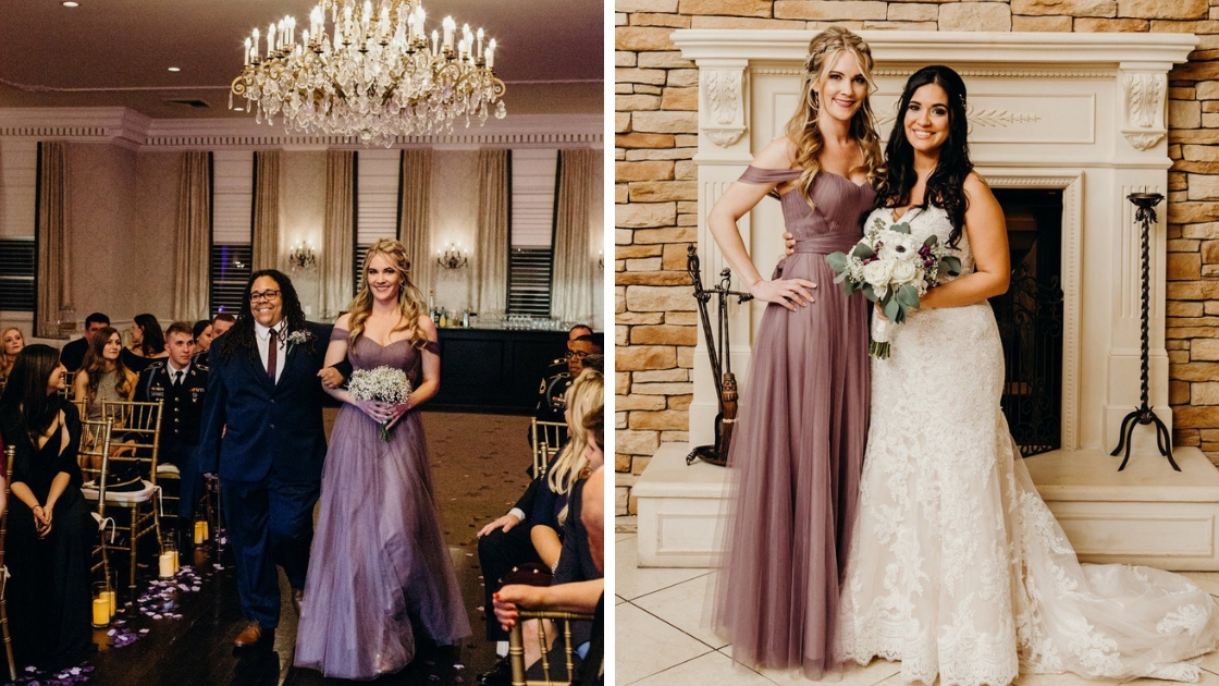 LGBTQ real wedding putple wisteria rosalie tulle gowns flowers walking down aisle posing with bride