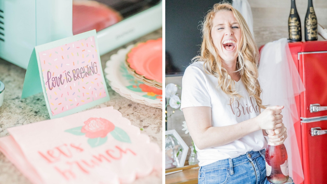 love is brewing coffee brunch bar bride with bride shirt pop champagne laughing rose jeans laughing party