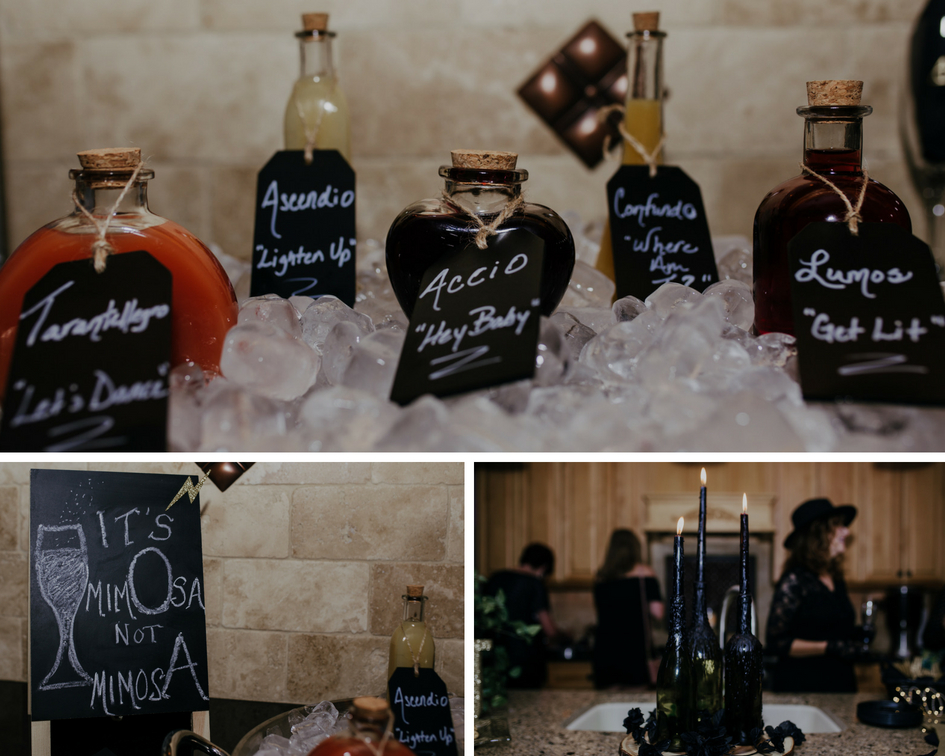 magical mimosa bar with different juices and spells and black candles in wine glasses