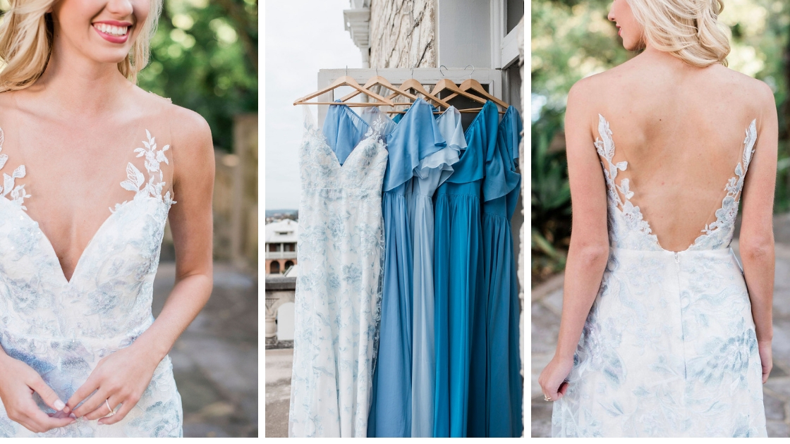 Luna blue wedding dress allusion revelry bridal dress white and blue and blue bridesmaid dresses deep neck and low back
