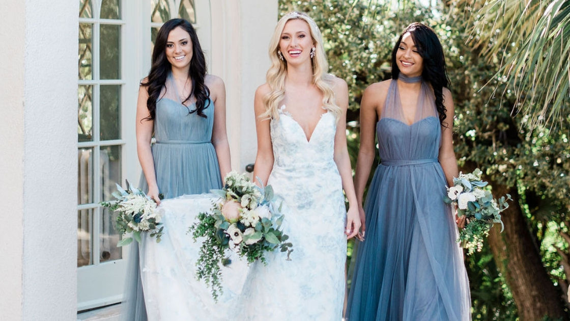 Luna revelry wedding dress bridal dress blue wedding dress deep neck blue bridesmaid dresses rosalie tulle green florals