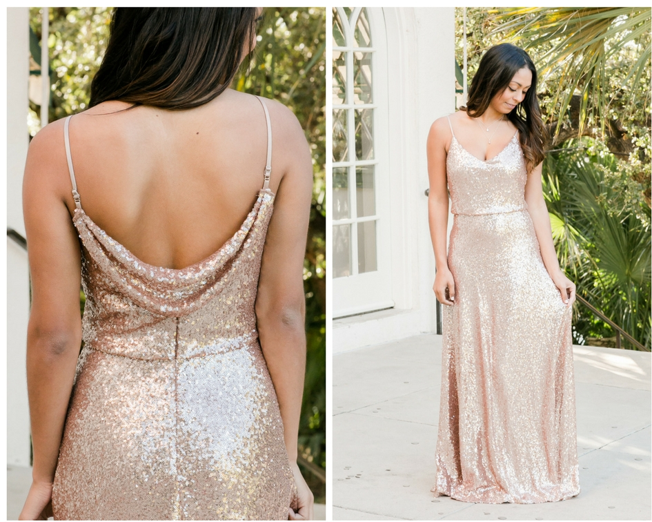 matte rose gold sequin dress in one of our most popular styles called the hazel.