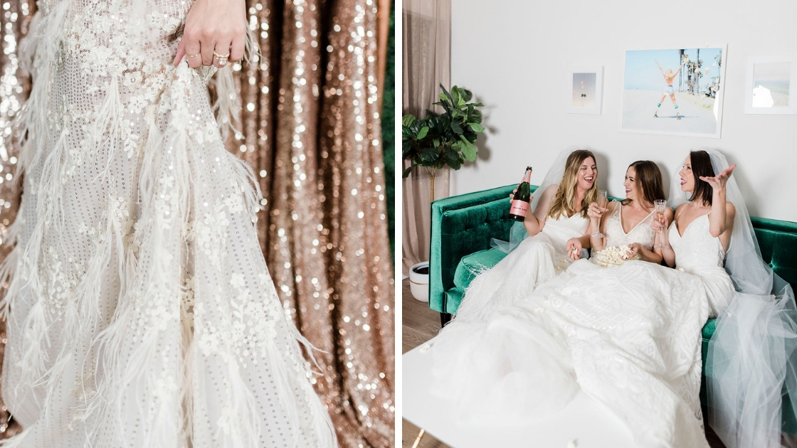 Michelle and best friends wearing wedding dresses on couch smiling laughing and posing bride in rose gold dress in front of gold sequin gowns