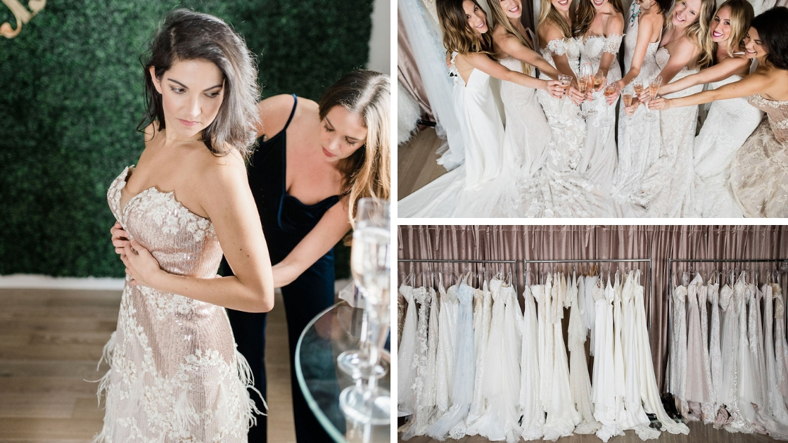 Michelle and besties at try on party wedding dresses friends austin revelry head quarters