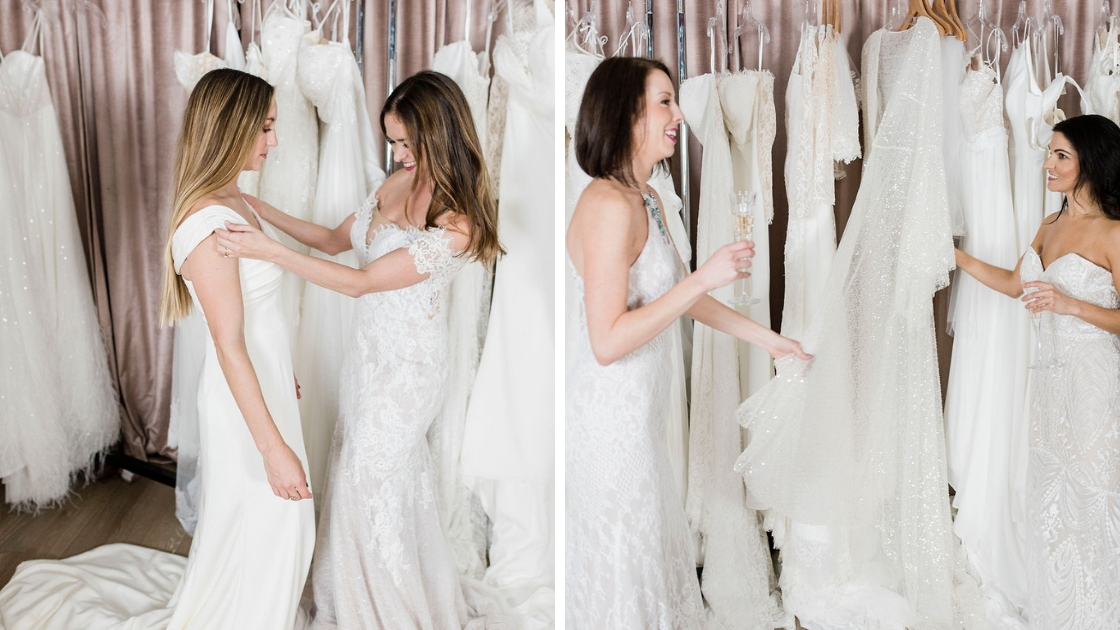 Michelle and besties try on revelry wedding dresses in austin texas acessories and pretty styles