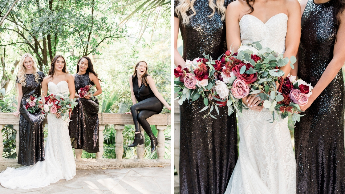 Michelle being silly next to bridesmaid and bridal models black tie sequins art deco details red burgundy florals