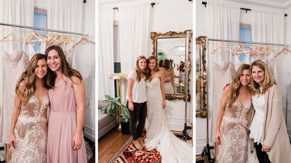 Bride Michelle poses with maid of honor lauralee marketing director of revelry and mother at try on party in wedding dress of rose gold and feathers