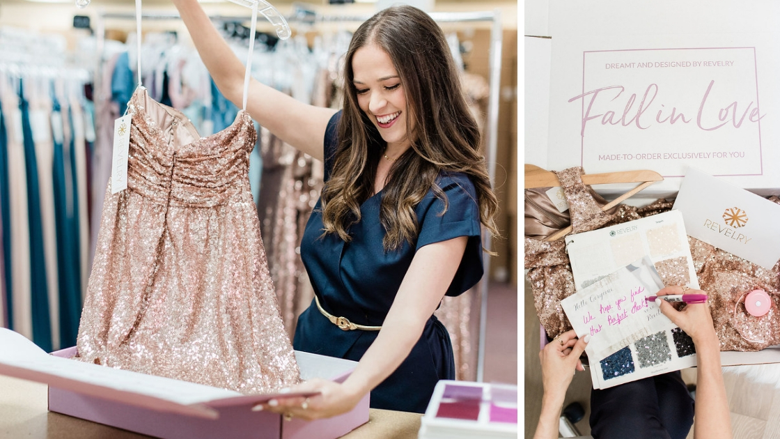 Revelry founder with Celeste dress writing note to customers