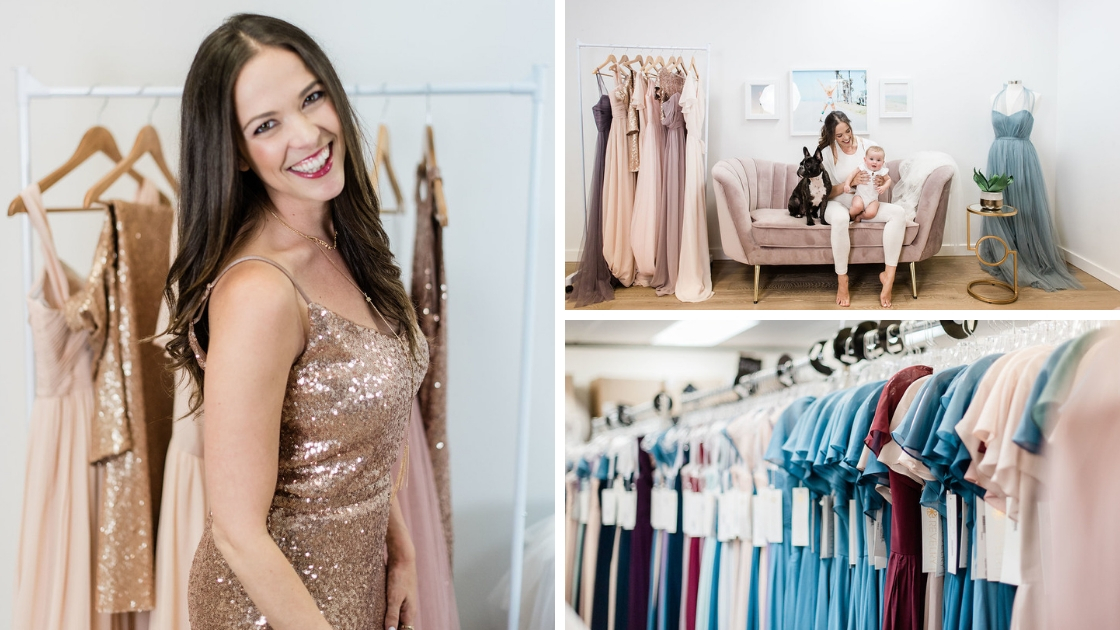 Michelle in rose gold sequins smiling and posing in front of racks of clothes in her office