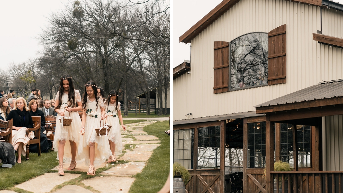Michelle winter texas wedding flower girls in tulle gold crowns baskets of roses white and grown barn