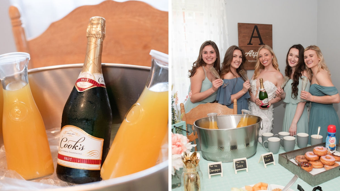Mimosa orange juice cooks champagne in bucket sarah arpino pose with four bridesmaids at revelry try-on party coffee foughnuts flowers post two pictures