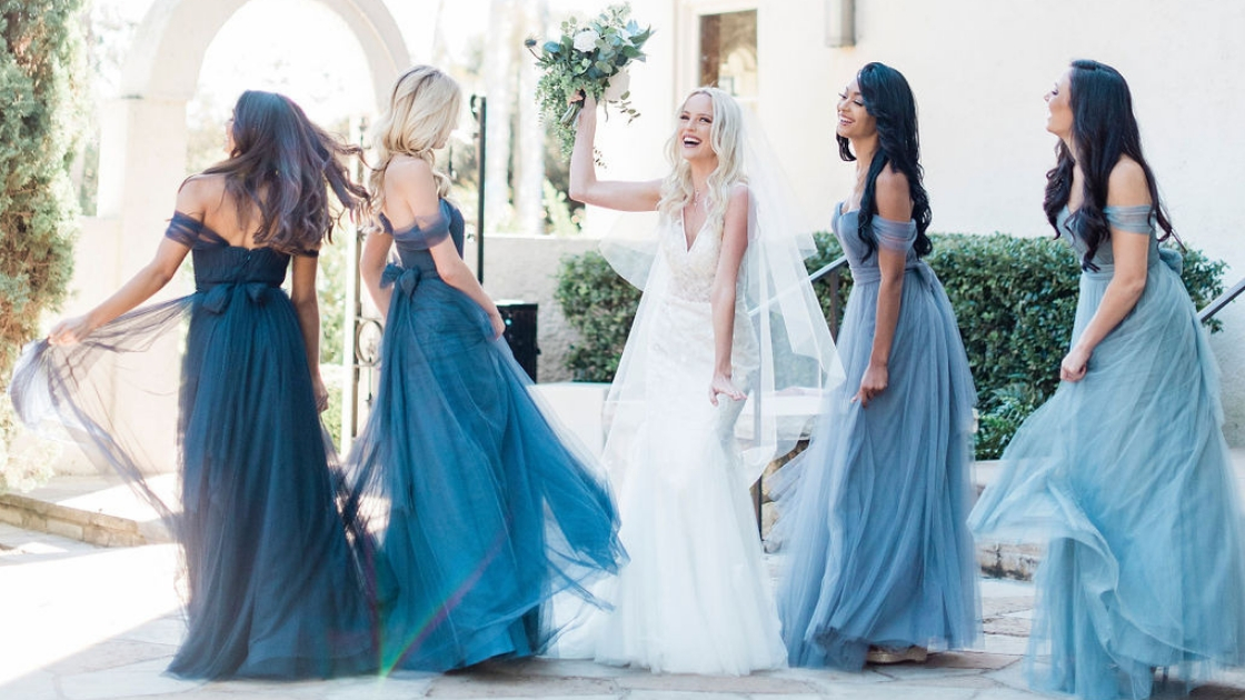 Mona wedding dress tulle sequin and details revelry bridal gown bridesmaids in rosalie off the shoulder convertible dresses in different shades of blue