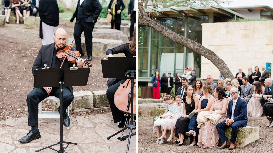 Musician at wedding outdoor ceremony guests sitting and watching event at outdoor event black tie formal wedding violinist