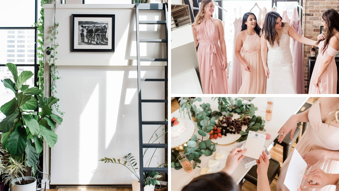 Natural light coming in beautifully downtown austin lost bridesmaids trying on dresses and oicking colors out of pinks and blushes wedding for chiffon and tulle wedding gowns plants and berries
