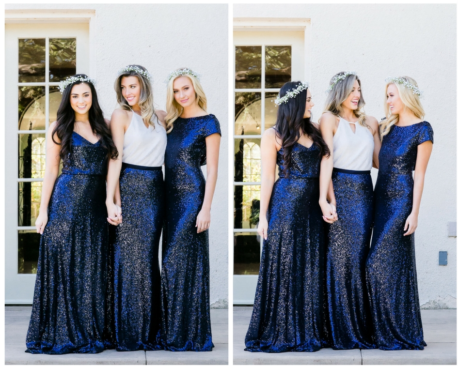 Navy sequin dress, skirts, and tops work to create a unique and stunning shiny bridesmaid look.