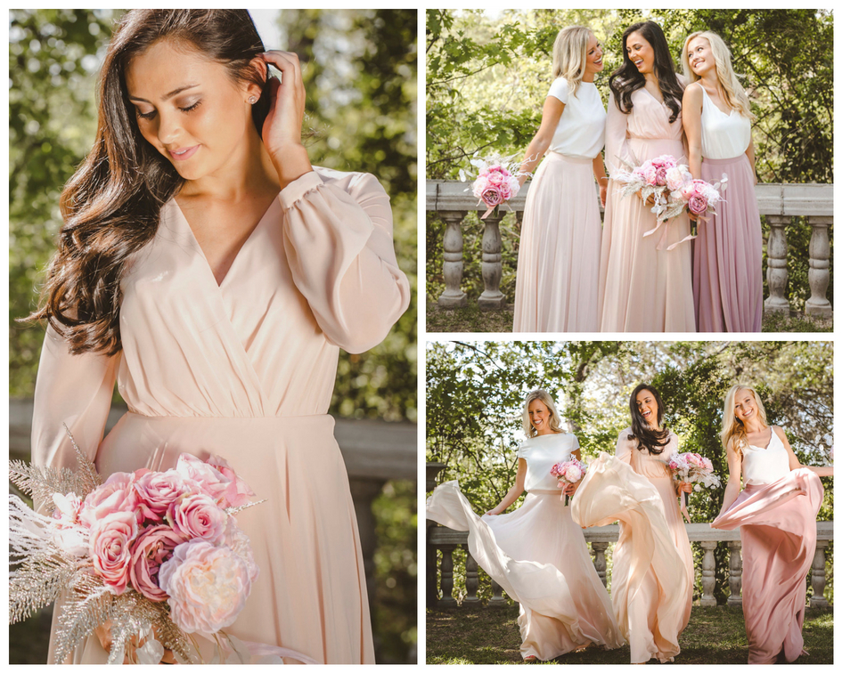 new summer styles in blush chiffon are what your bridesmaids have been dreaming of for that June wedding.