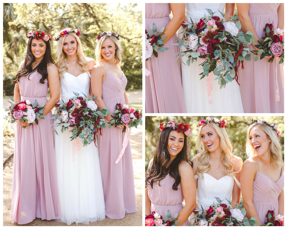 boho flower crowns and blooming florals compliment every bridesmaid, especially when they are wearing Rose Quartz chiffon bridesmaid dresses from Revelry.