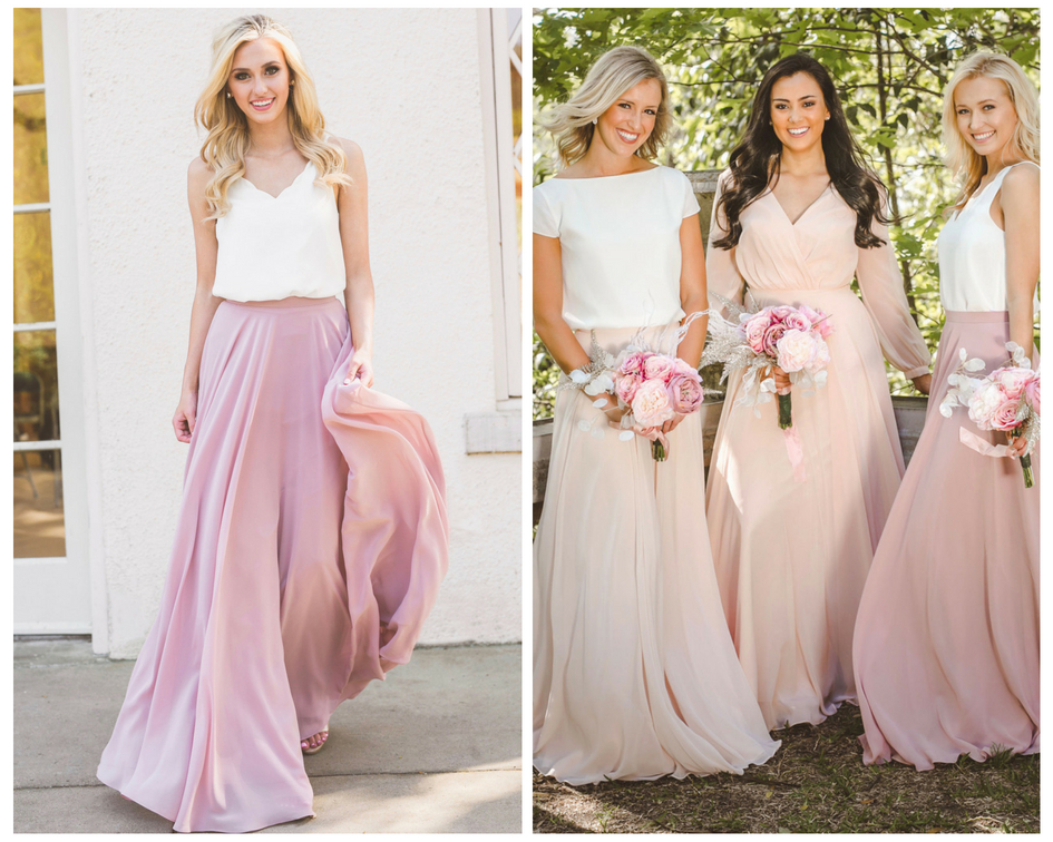 Lola pink skirt, white pearl chiffon bridesmaid tops to mix and match with barely blush skirts.