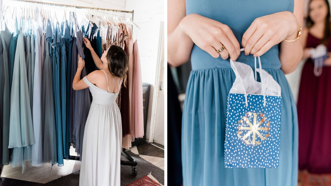 New Revelry gift bag blue polka dot gold logo bridemaid in blue chiffon and grey chiffon look at dresses at try on party with white light shining in