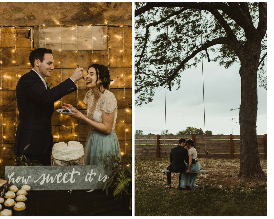 Bride and groom cut cake and share a slice and special moment on the swing