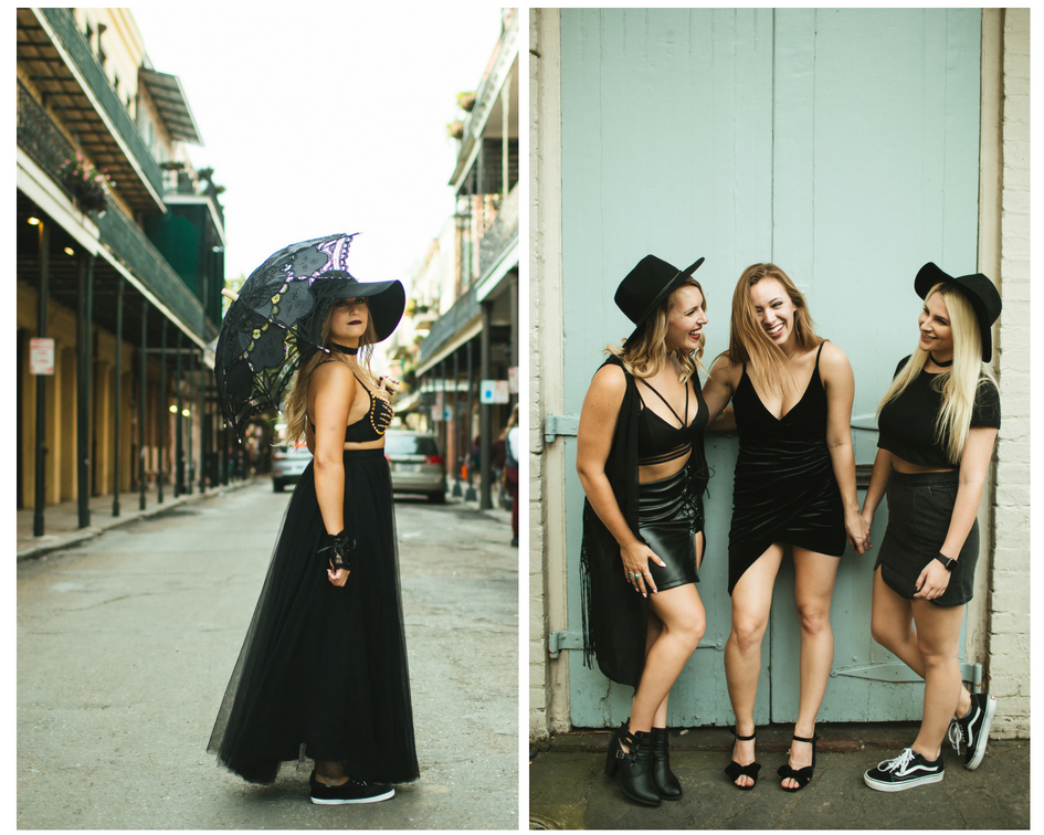 All black posing for this NOLA coven themed bach party.