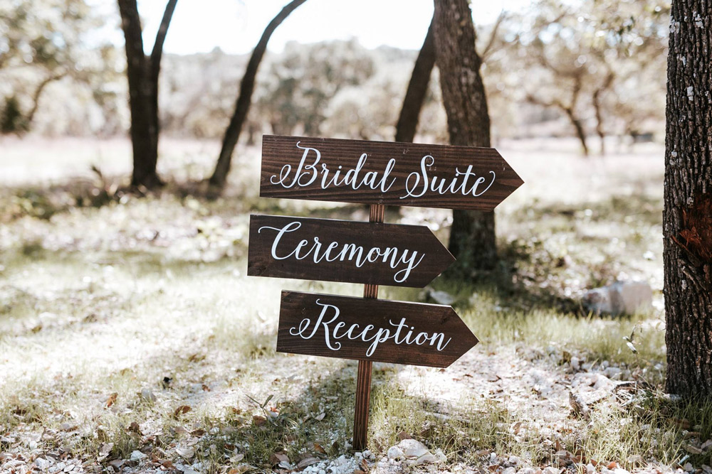 "Three arrows on a sign post showing visitors where to head for the ""bridal Suite"", ""Ceremony"" and ""Reception"""