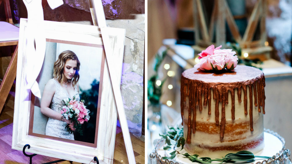 beautiful wedding cake with fresh blooms & framed photos of the couple.